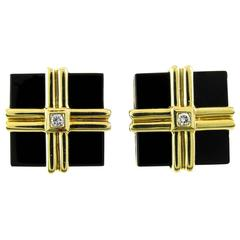 Onyx Diamond Gold Cufflinks