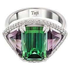 Green Tourmaline & Purple Spinels Ring, 18k White Gold Diamonds Ring