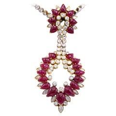 Gucci Ruby Diamond 18 Karat Gold Pendant Brooch Necklace