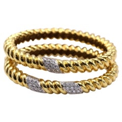Pair Tiffany & Co. 18 Karat Gold Diamond Bangle Bracelets