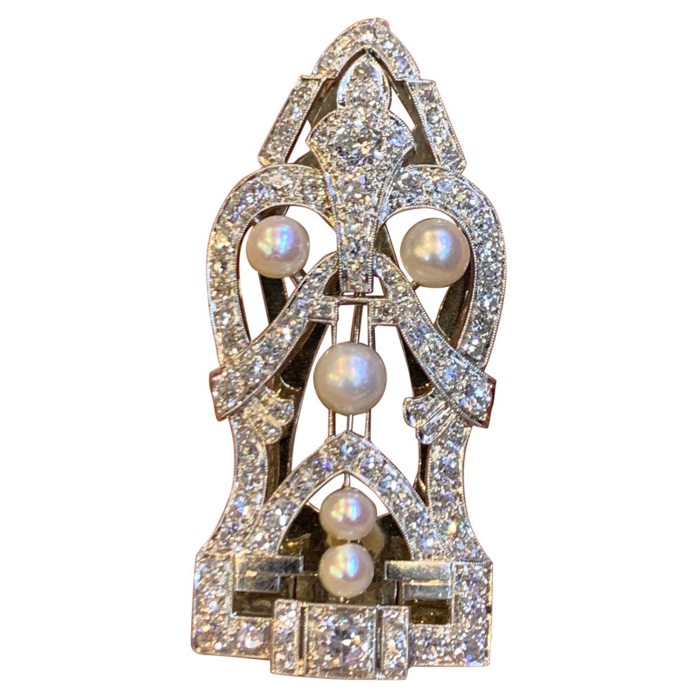 Art Deco Natural Pearl Clip Brooch