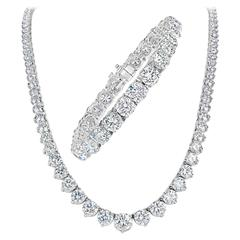 Diamond Platinum Graduated Riviera Necklace IGI Certificate and Tennis Bracelet