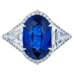 GIA Certified 8.25 Carat Oval Sapphire and Diamond Ring