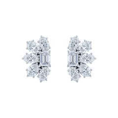 GIA Certified 5.93 Carat Emerald and Oval Diamond Cluster Earring
