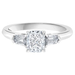 GIA Certified 1.18 Carat Cushion and Bullet Side Three Stone Engagement Ring