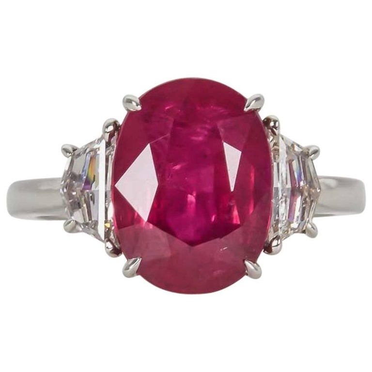 5 Carat GIA Certified Ruby Diamond Platinum Ring For Sale