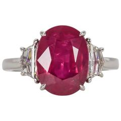 5 Carat GIA Cert Ruby Diamond Platinum Ring