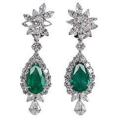 Incredible Emerald Diamond Platinum Drop Earrings