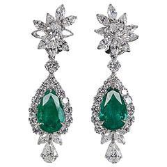 Incredible Emerald Diamond Platinum Drop Earrings
