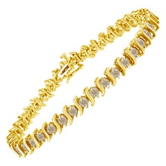 14K Yellow Gold Plated Sterling Silver Round Diamond S-Curve Link Bracelet