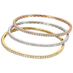Set of Three Diamond White Yellow and Rose Gold Bangle Bracelets