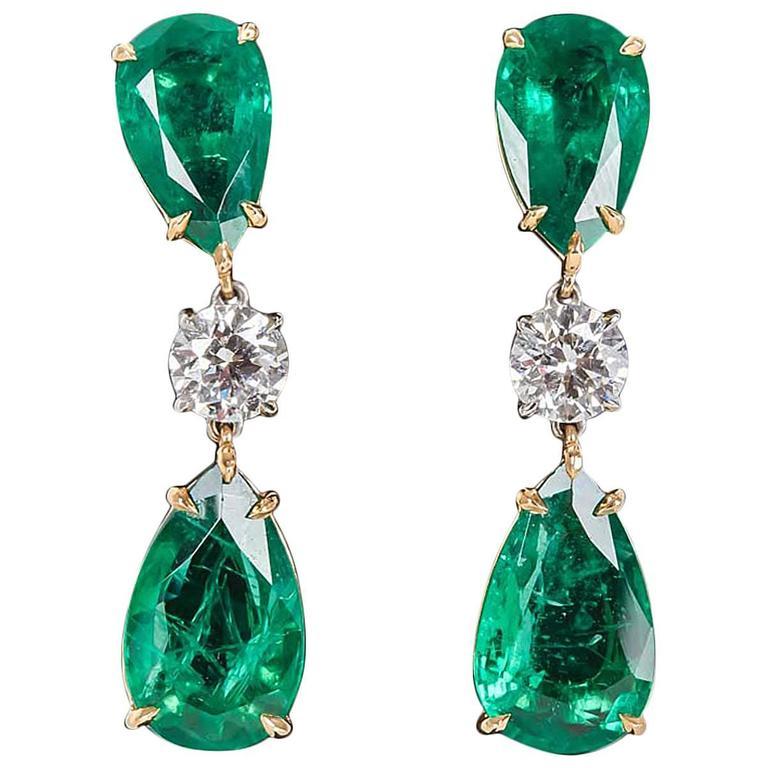 Elegant Green Emerald Diamond Gold Drop Earrings