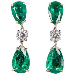 Elegant Green Emerald Diamond Gold Drop Earrings