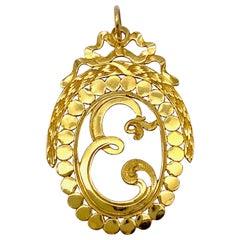 Antique 1800 Empire 21.6 Karat Gold Pendant Initial E