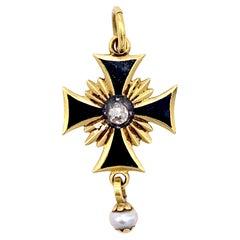 Antique 14 Karat Gold Silver Cross Pendant Diamond Natural Pearl Enamel