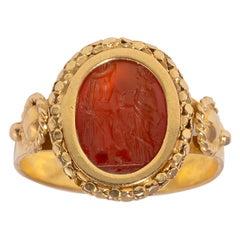 Ancient Roman Esculape Intaglio Ring Circa 2nd Century AD