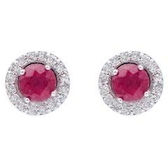 Rubies, Diamonds, 18 Karat White Gold Stud Earrings