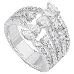 1.21 Carat Diamonds Multi-Layer 18k White Gold Wide Band Ring