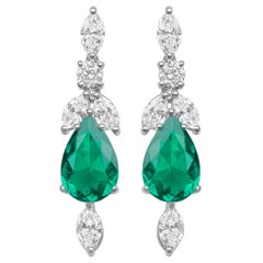 1.79ct White Diamond and 4.23ct Pear Cut Emerald Earrings
