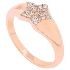 18k Rose Gold and 0.14ct Diamond Star Signet Ring