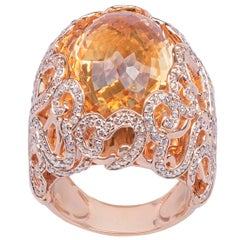 Citrine Quartz 18k Rose Gold Dome Ring