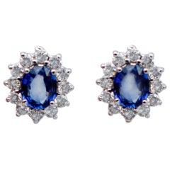 Blue Sapphires, White Diamonds, 14 Karat White Gold Stud Earrings
