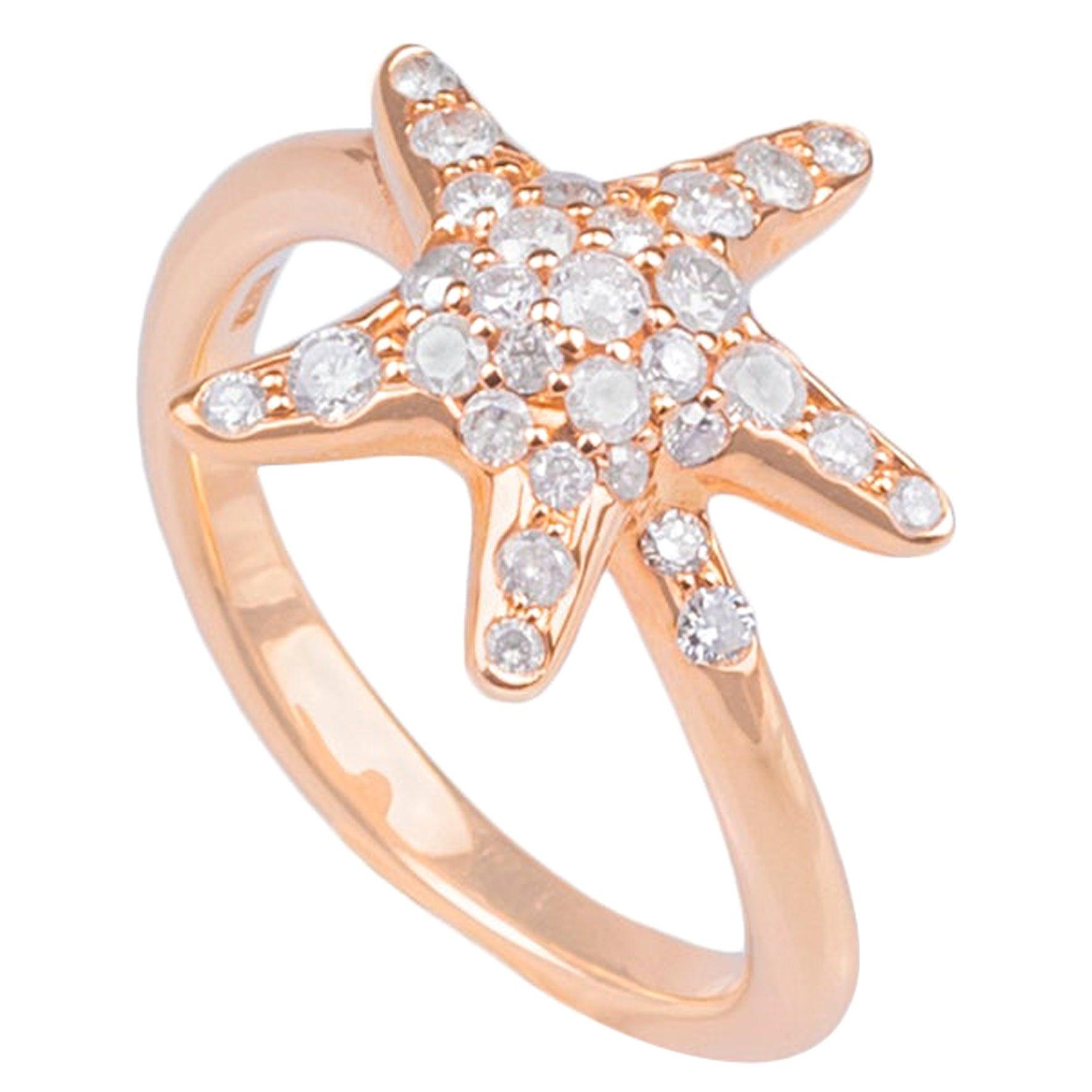 18k Rose Gold and Diamond Starfish Ring