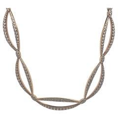 18kt Rose Gold Open Diamond Link Necklace