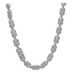 18kt White Gold Diamond Flower Link Necklace