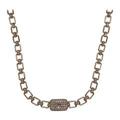 18kt Rose Gold Pavé Diamond & Baguette Link Necklace