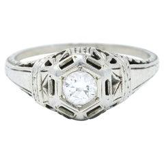 Edwardian Diamond 18 Karat White Gold Bombe Engagement Ring