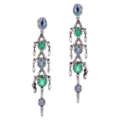 Victorian Chandelier Earrings in Emerald and Blue Sapphire with Diamond