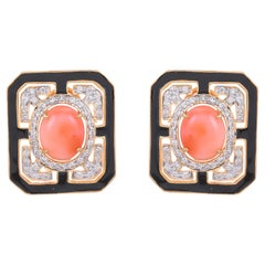 4.55 Carat Coral Black Enamel and Diamond 18KT Yellow Gold Stud Earrings