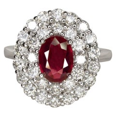 GIA Certified Minor Heat Burma Red Ruby Diamond Halo Solitaire White Gold Ring