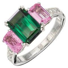 Peter Suchy 2.80 Carat Green Tourmaline Pink Sapphire Diamond Platinum Ring