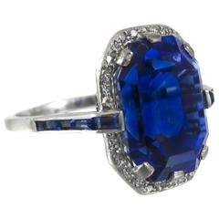 Art Deco Certified 10.67 Carat Sapphire Diamond Platinum Ring
