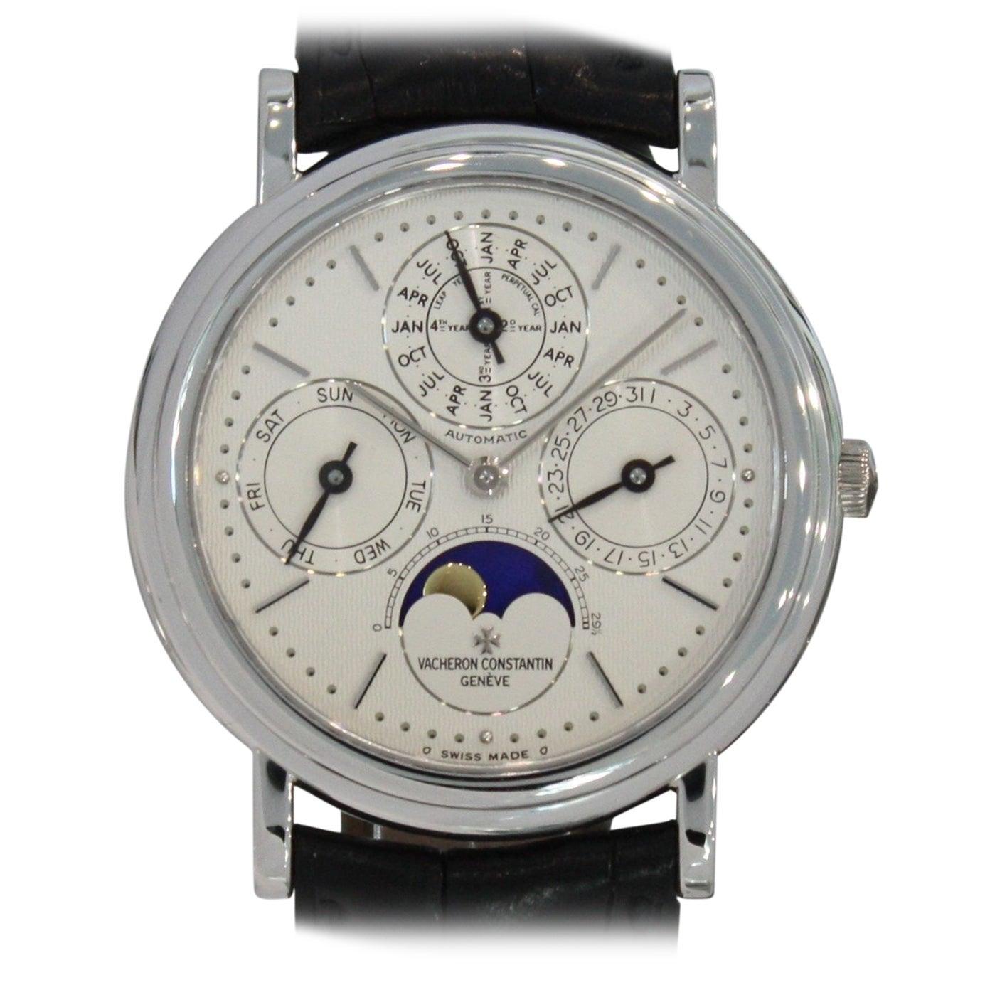 55fab4a94 Vacheron Constantin Platinum Patrimony Perpetual Calendar Moon Phase  Wristwatch at 1stdibs
