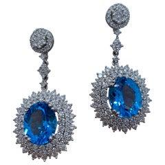 Scintillating Pair of 16.34 Carat Vivid Blue Topaz and Diamond 18K Gold Earrings