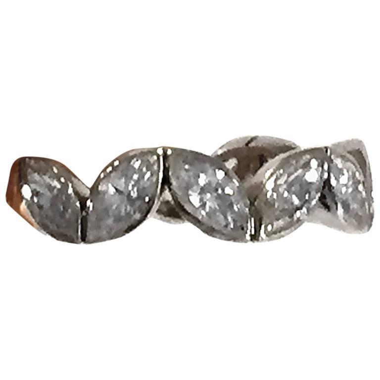Fred Paris 3 Carat Marquise Cut Diamond Platinum Wedding Band Ring 1