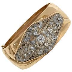 Chic Diamond Gold Platinum Cuff Bracelet