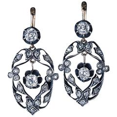 Antique Diamond Silver Gold Openwork Dangle Earrings