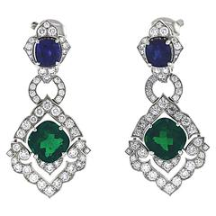 Original Cartier Colombian Emeralds Diamonds Sapphires Victoria Earrings