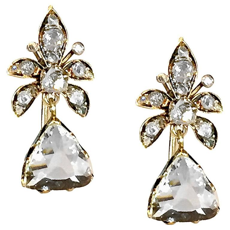Victorian 4 Carat Rose-Cut Diamond Gold Earrings