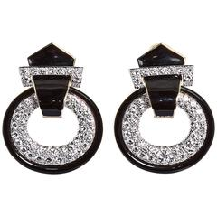 David Webb Enamel Diamond Gold Drop Earclips
