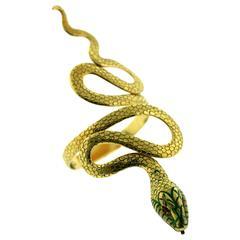 1960s Spritzer and Fuhrmann Enamel Ruby Gold Serpent Cuff Bracelet