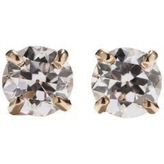 Old European Cut Diamond Gold Stud Earrings