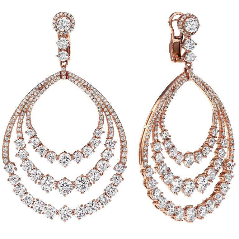 Diamond Gold Dangle Earrings  1