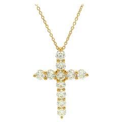 14Kt Yellow Gold 2.00ct Diamond Cross Pendant Necklace