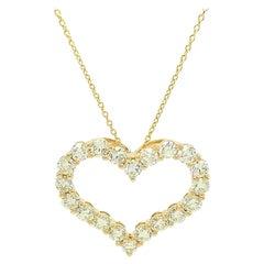 14Kt Yellow Gold 2.00ct Diamond Heart Pendant Necklace