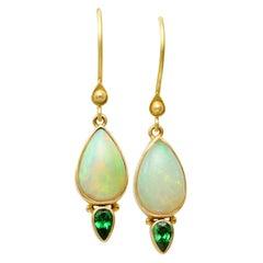 Steven Battelle Ethiopian Opal Tsavorite Wire Earrings 18K Gold
